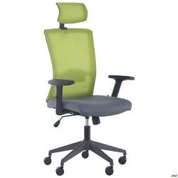 Кресло Uran Black HR сиденье Нест-08 серая/спинка Сетка SL-06 салатовая