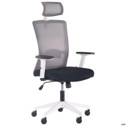 Кресло Uran White HR сиденье Нест-01 черная/спинка Сетка HY-109 серая