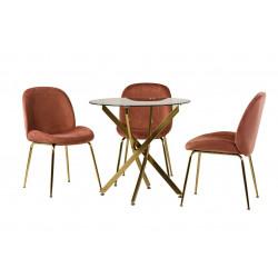 Обеденный стол T-314 прозрачный + золото Vetro
