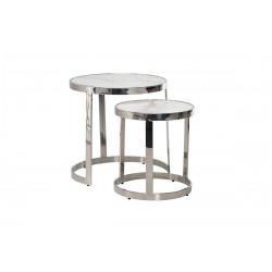Комплект журнальных столов CI-1 белый мрамор + cеребро Vetro
